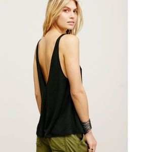 Free People Sleek N Easy Tank Black